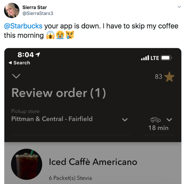 more twitter outrage when the starbucks app crashes
