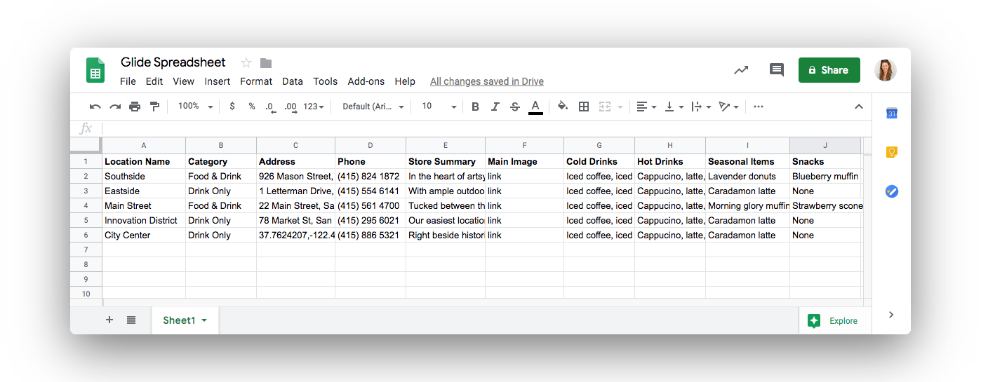 basic spreadsheet for locations in starbucks app prototype, with menu
