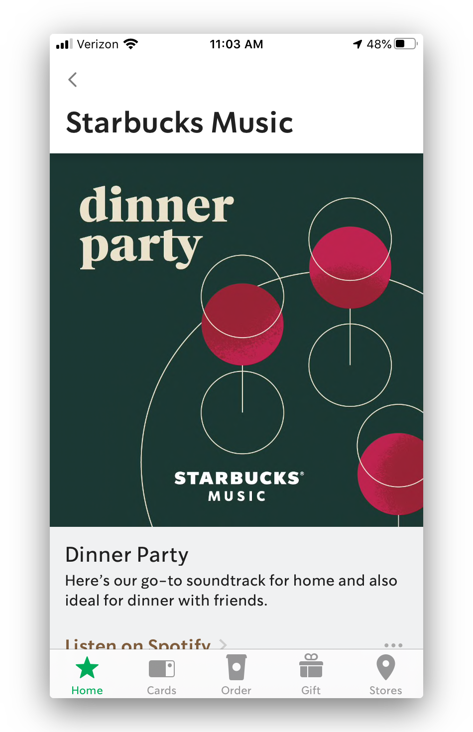 the spotify playlists feature in the starbucks app
