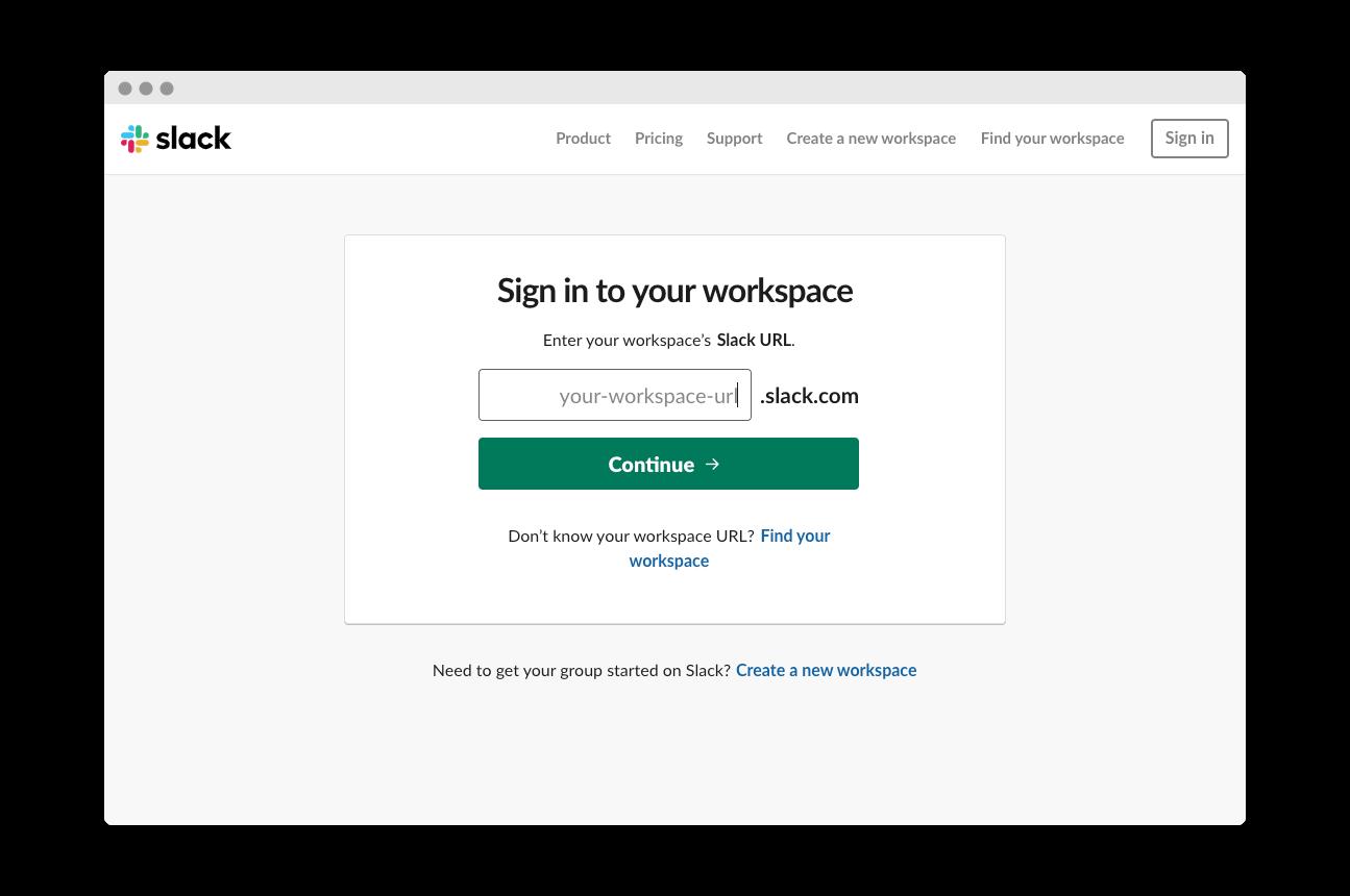 Screenshot of Slack Log-In Screen