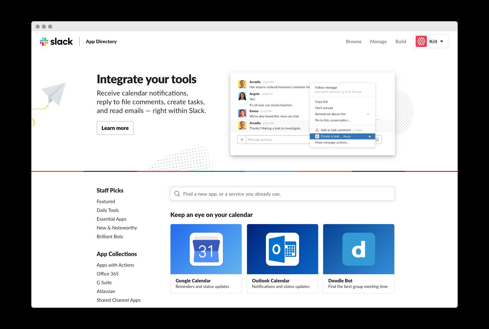 Slack's messaging app integrations page