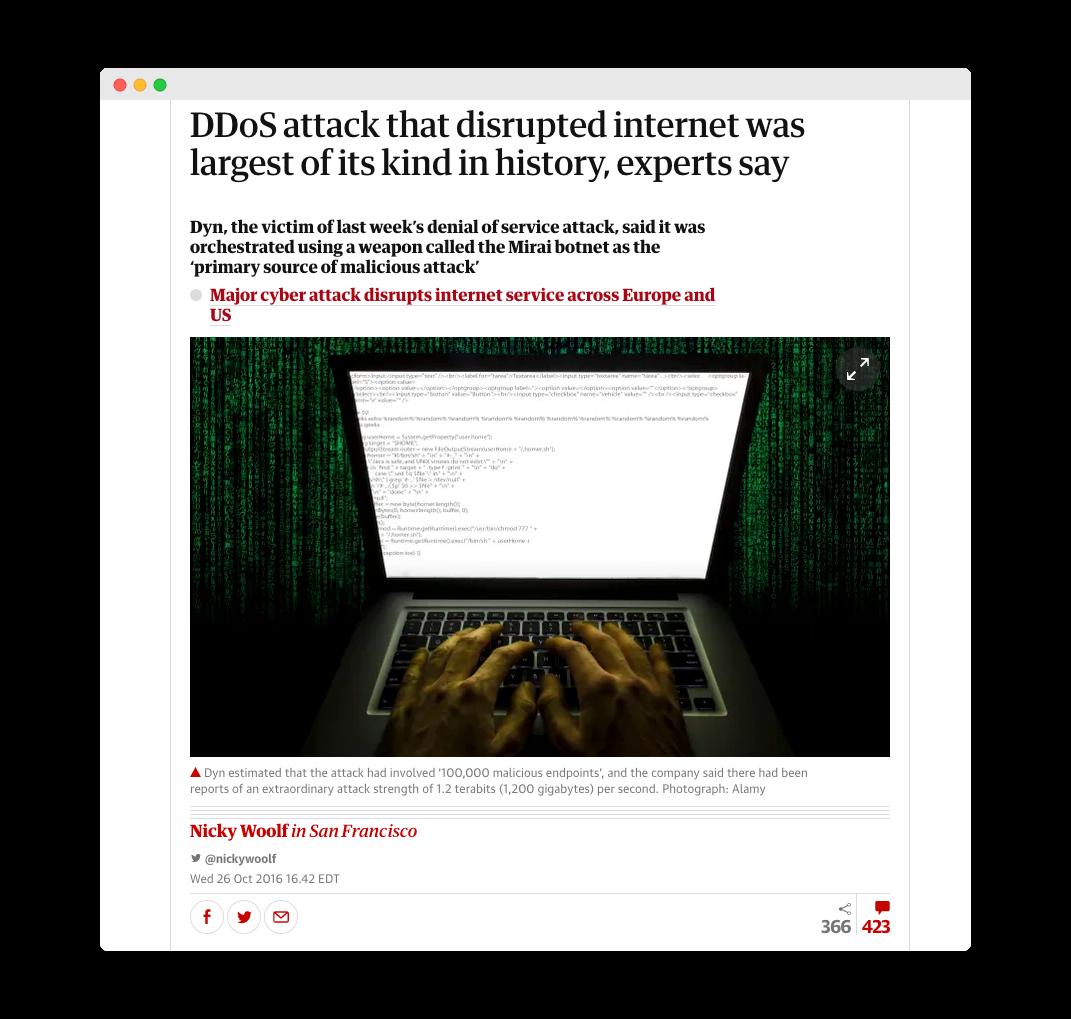 Mirais botnet headline