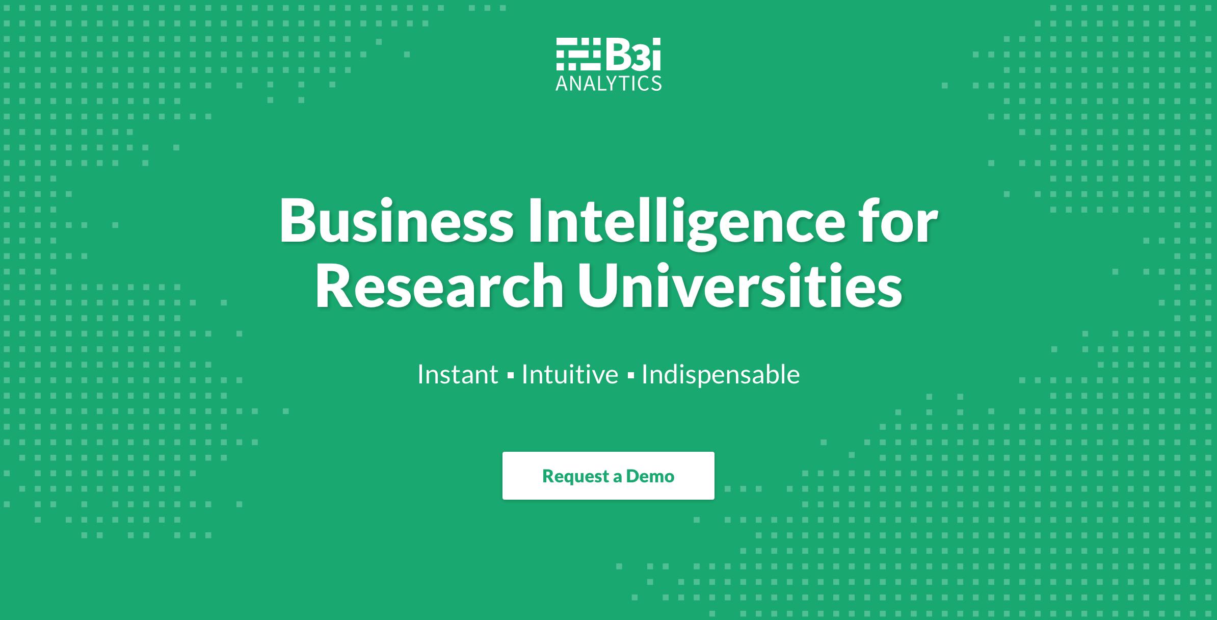 Screenshot of B3i's marketing site