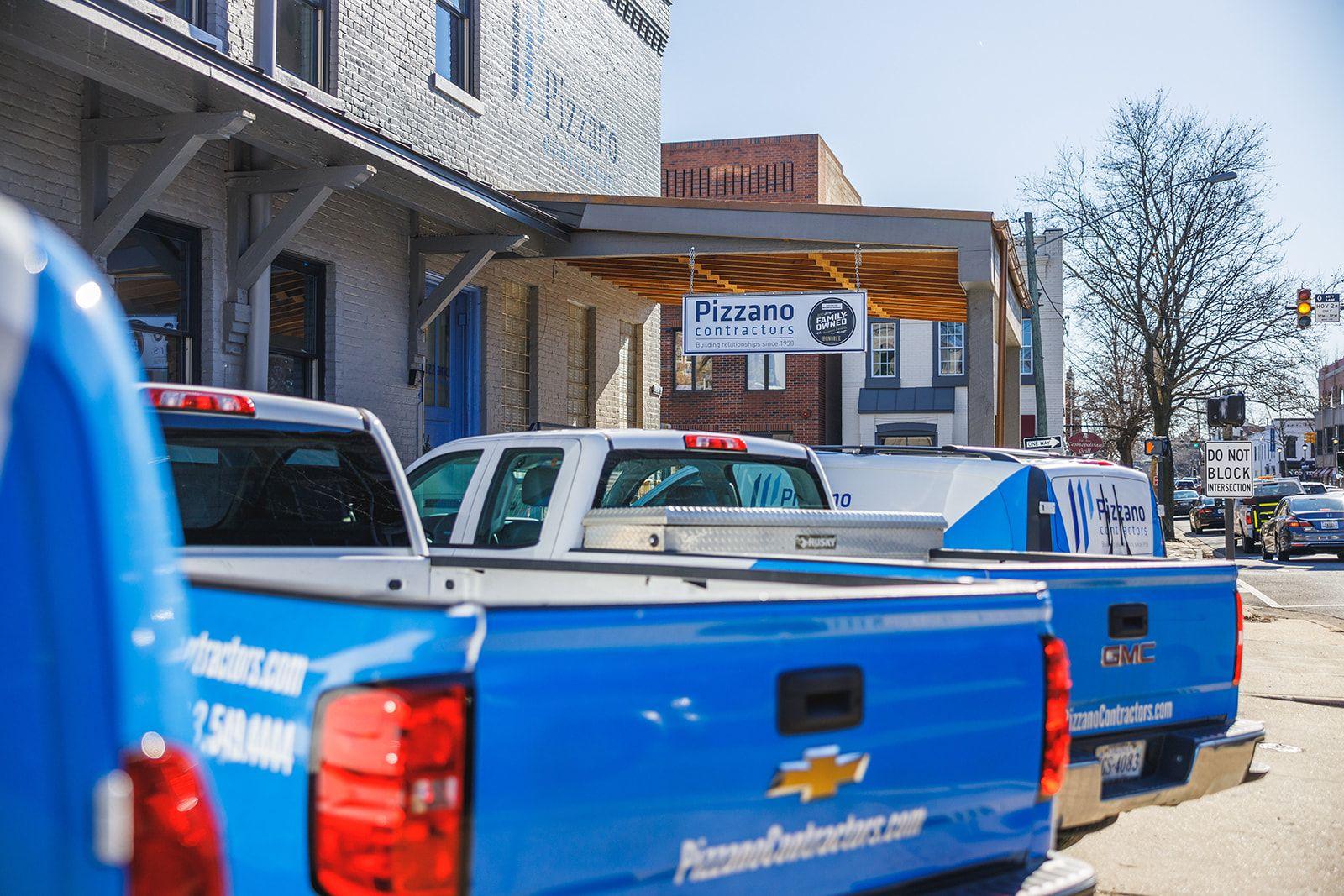 work trucks outside office
