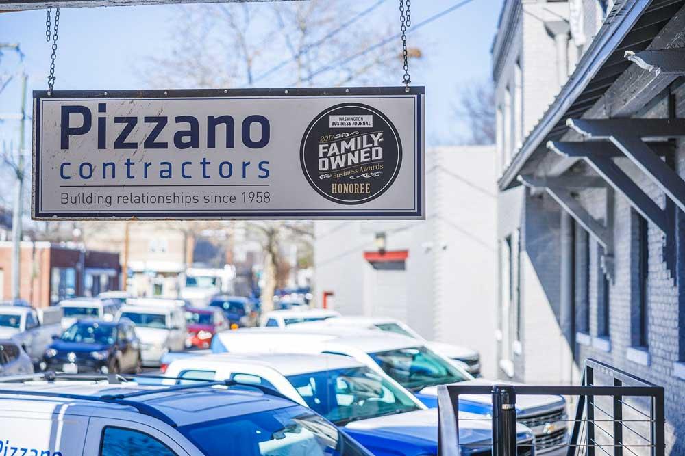Pizzano Contractors office sign