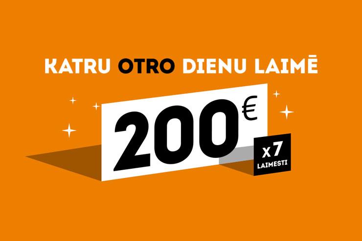 [NOSLĒDZIES] Laimē 200€ katru OTRO dienu!