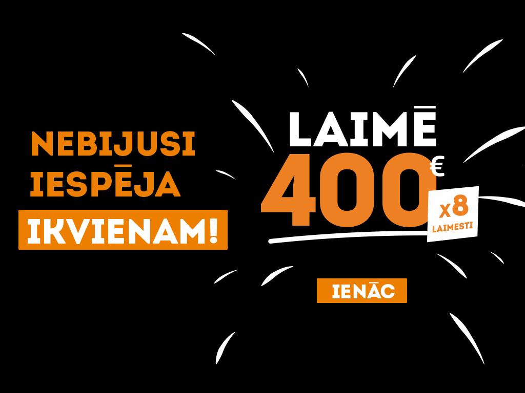 [Noslēdzies] Laimē 400 EUR katru otro dienu! Nebijusi iespēja IKVIENAM!