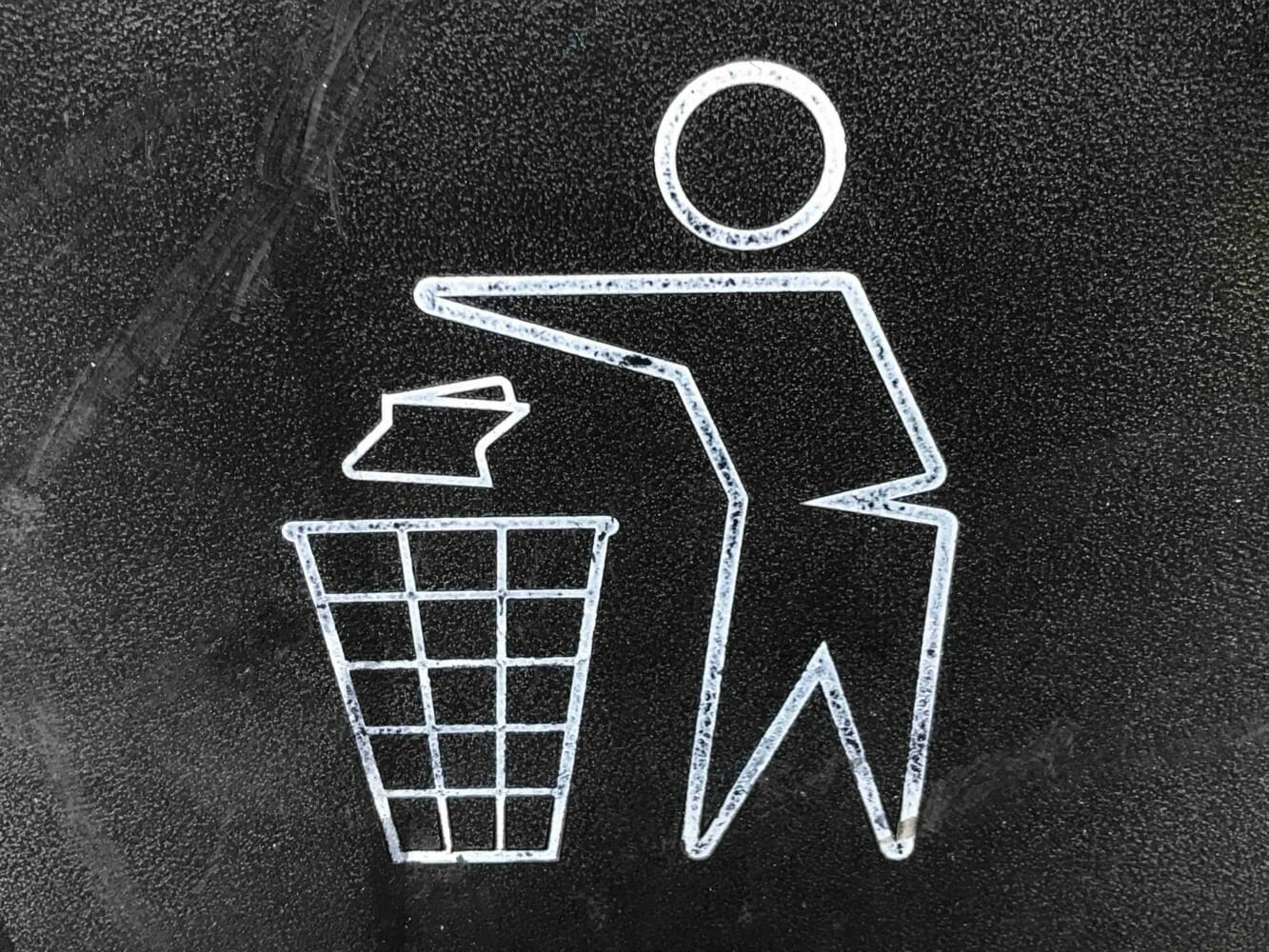 A 2-D Stick Person Throwing Away Trash