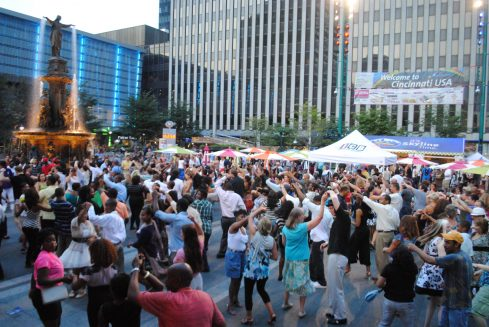 salsa dancing on the square downtown