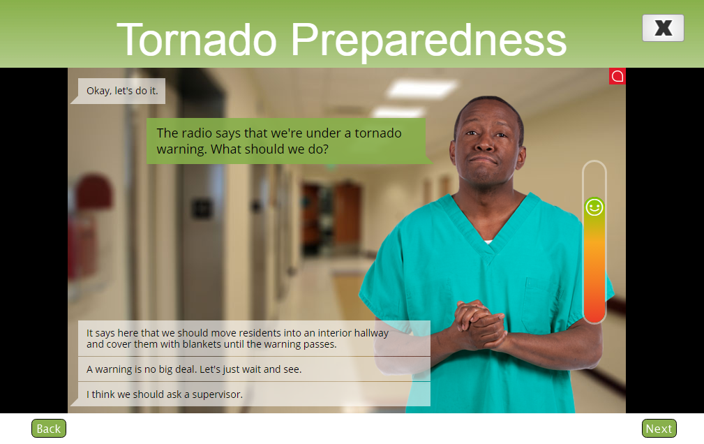 Example from Tornado Preparedness scenario