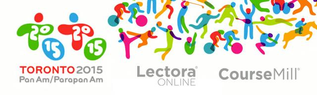 TORONTO 2015 Pan Am/Parapan Am logo, Lectora Online logo, CourseMill logo