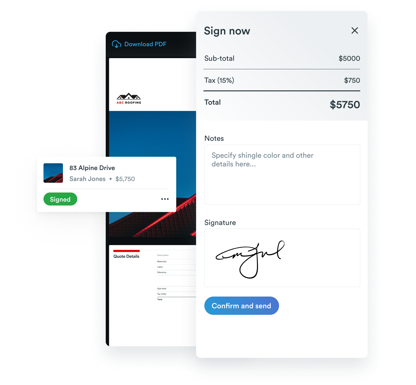 E-signatures on a Roofr proposal