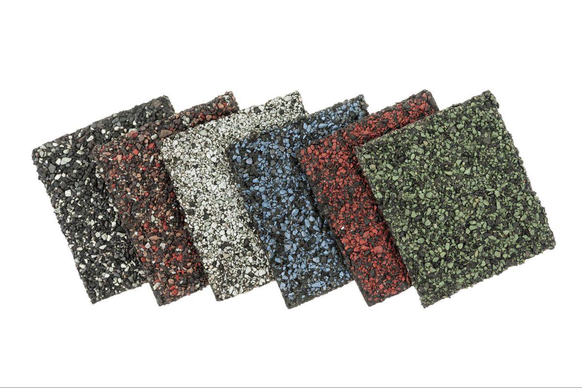 a asphalt multicolored shingles b