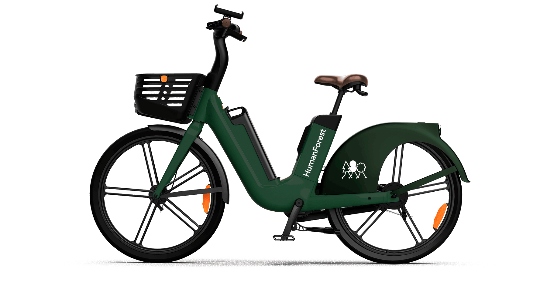 A green electric bike viewed from the side