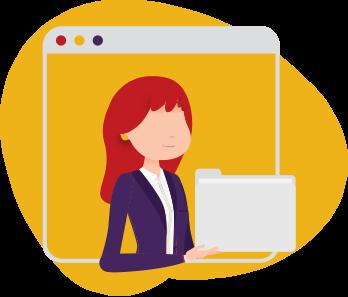 Working woman holding a folder.