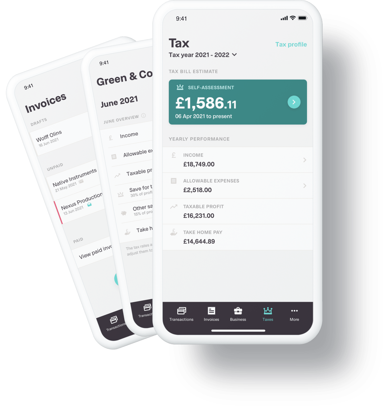 Shot of the Coconut app on different devices displaying tax, invoicing and expenses tools.
