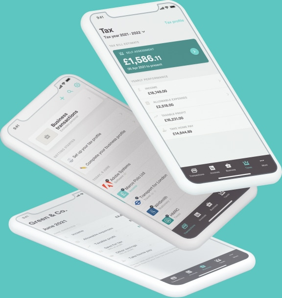 The Coconut app on different devices displaying tax, invoicing and expenses tools.