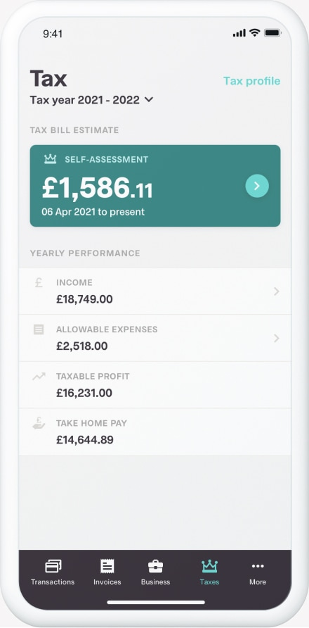 The tax overview tool on the Coconut app