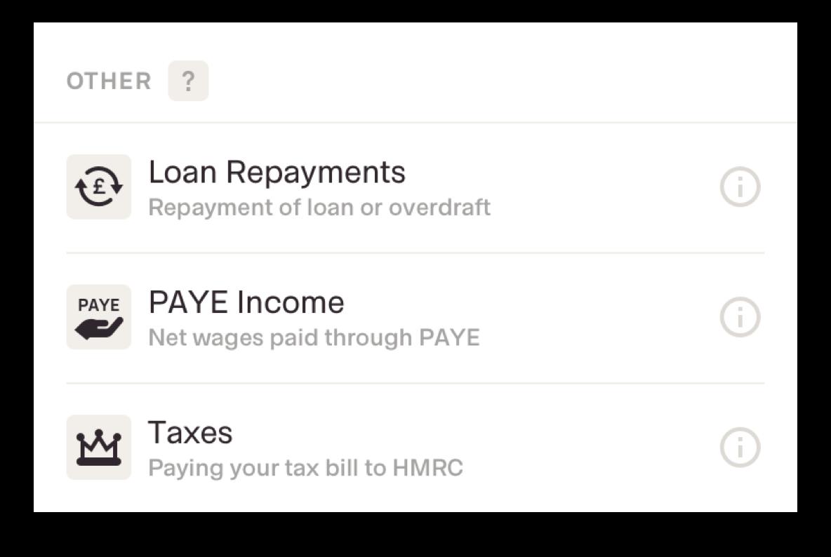 payment categories screenshot
