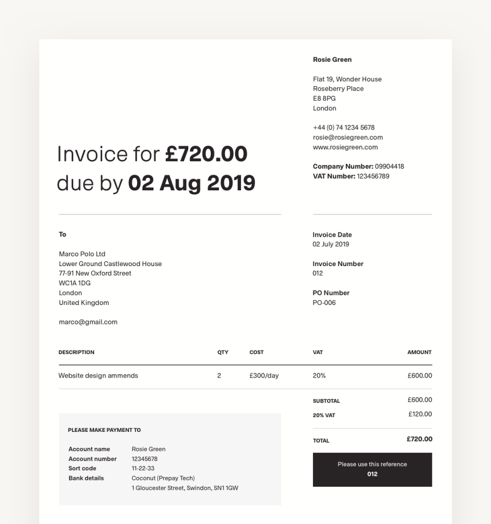 Invoice from Coconut app