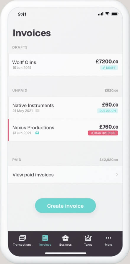 The invoicing tool of the Coconut app