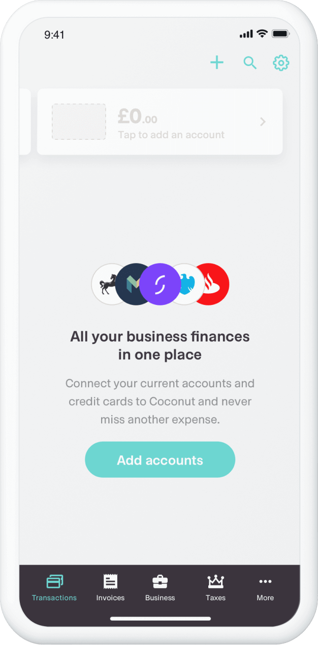 The Coconut app's connect bank account feature
