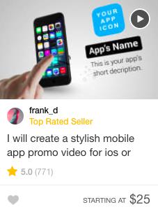 Fiverr promo video gig offer