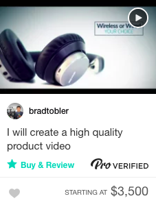 Fiverr pro product video gig