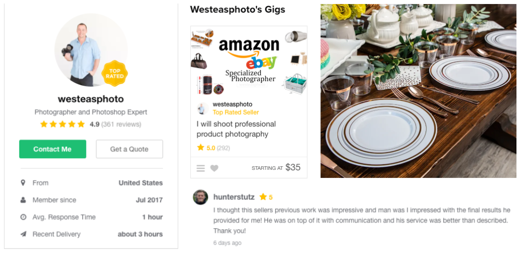 fiverr product photography and gig