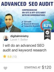 Fiverr Pro SEO audit & keyword research Gig