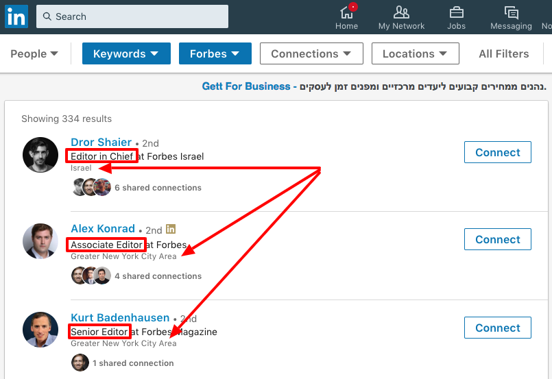 Linkedin search functionality