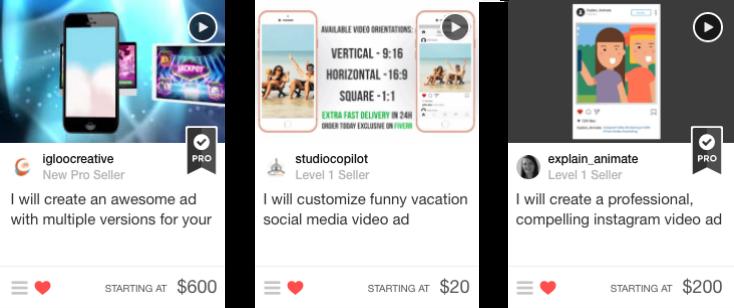 short video ads gigs