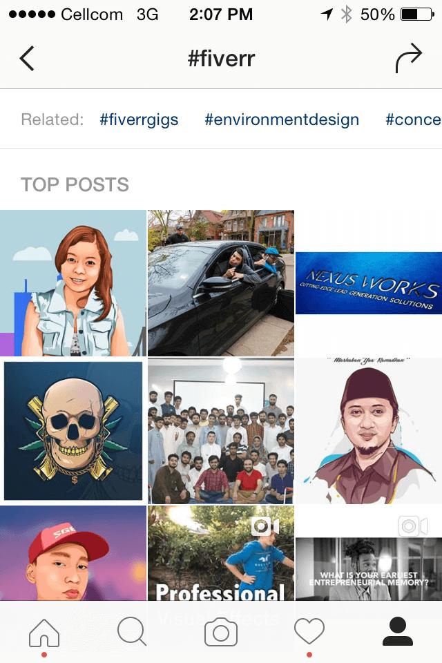 instagram fiverr hashtag