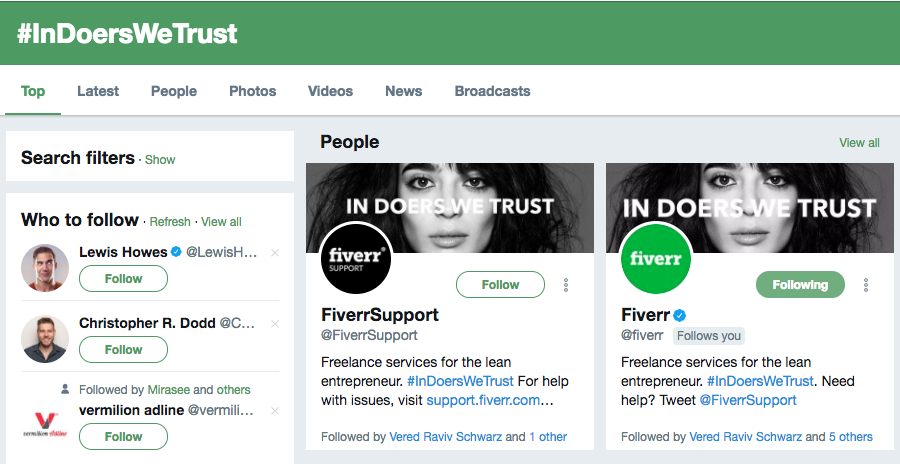 Fiverr In Doers We Trust Hashtag Campaign