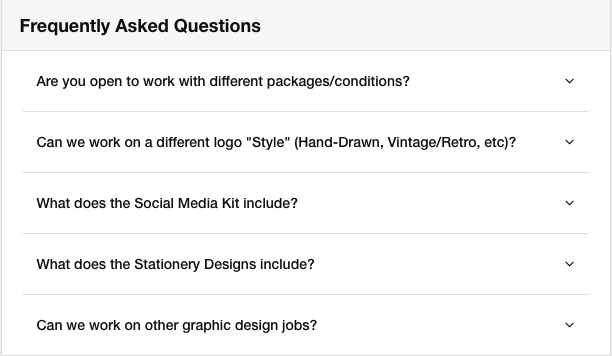 Fiverr Gig FAQ section