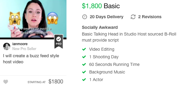 buzz feed style video fiverr gig