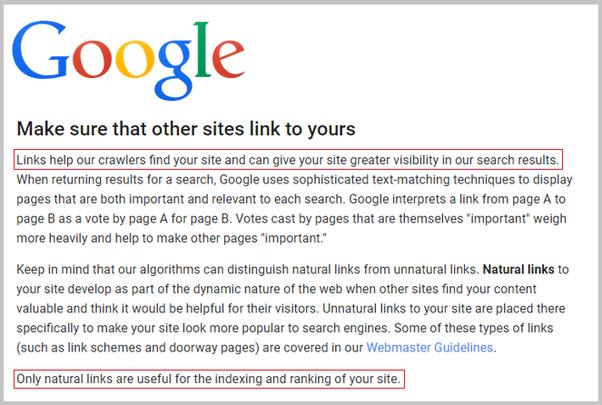 Google policy on backlinks