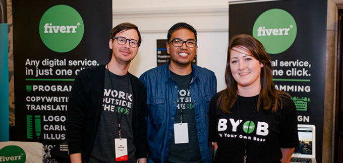 Fiverr Members at the Startup Grind, London||Venture Capital World Logo||Tech City Connect Logo