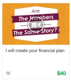 Financial plan gig service on Fiverr