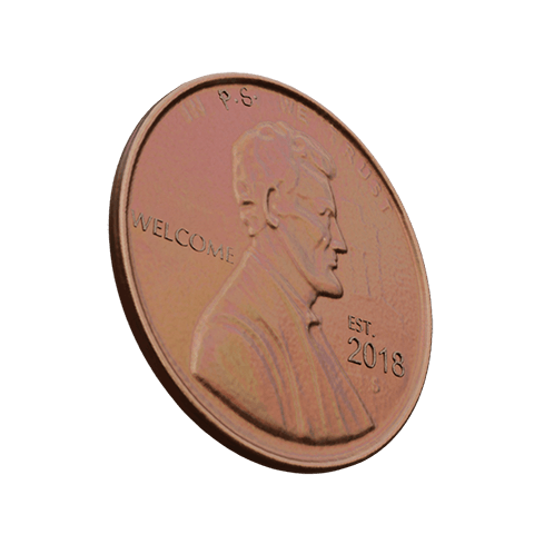 """Lucky Penny with """"Welcome"""" and """"Year Established"""" engraving (Interactive Hover Element)."""