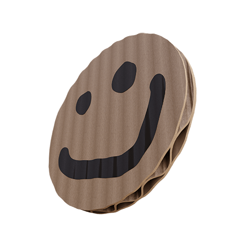 Corrugated cardboard circle with spray-painted smiley face (Interactive Hover Element).