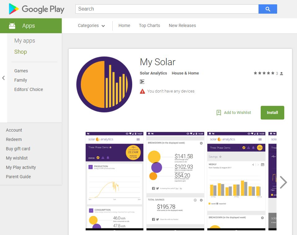 My Solar Android App in Google Play store