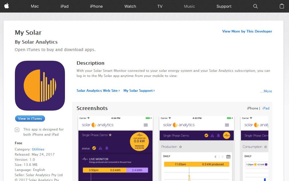 Solar Analytics iOS App in Apple Store