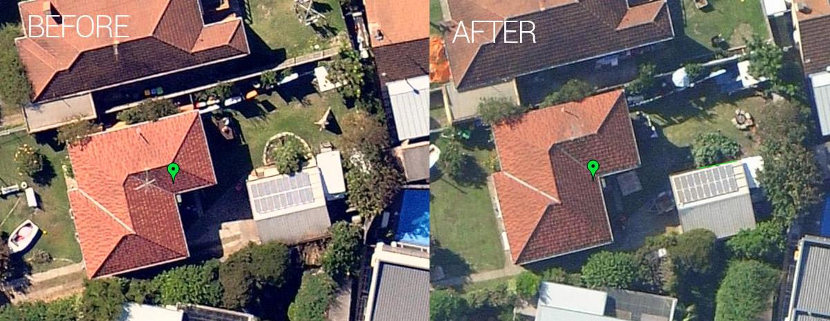 solar panels with tree shading