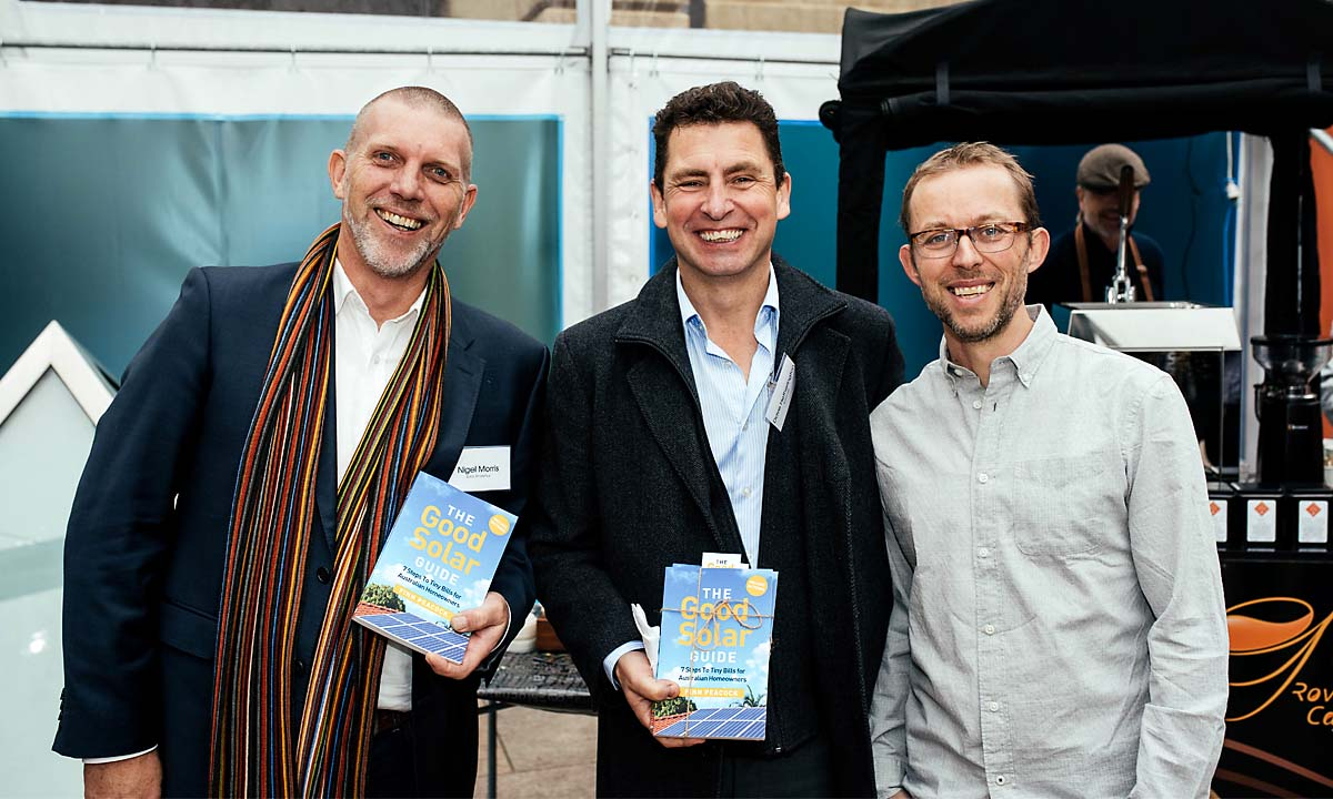Nigel Morris and Finn Peacock at The Good Solar Guide launch 2018