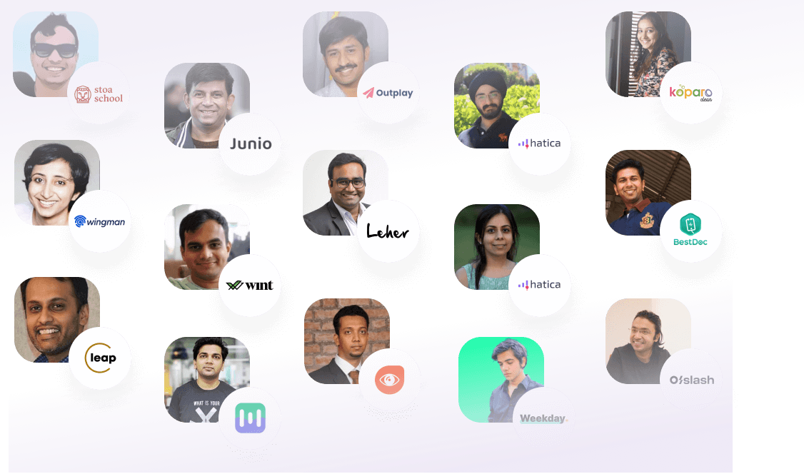 A grid of images containing pictures of Indian Startup founders