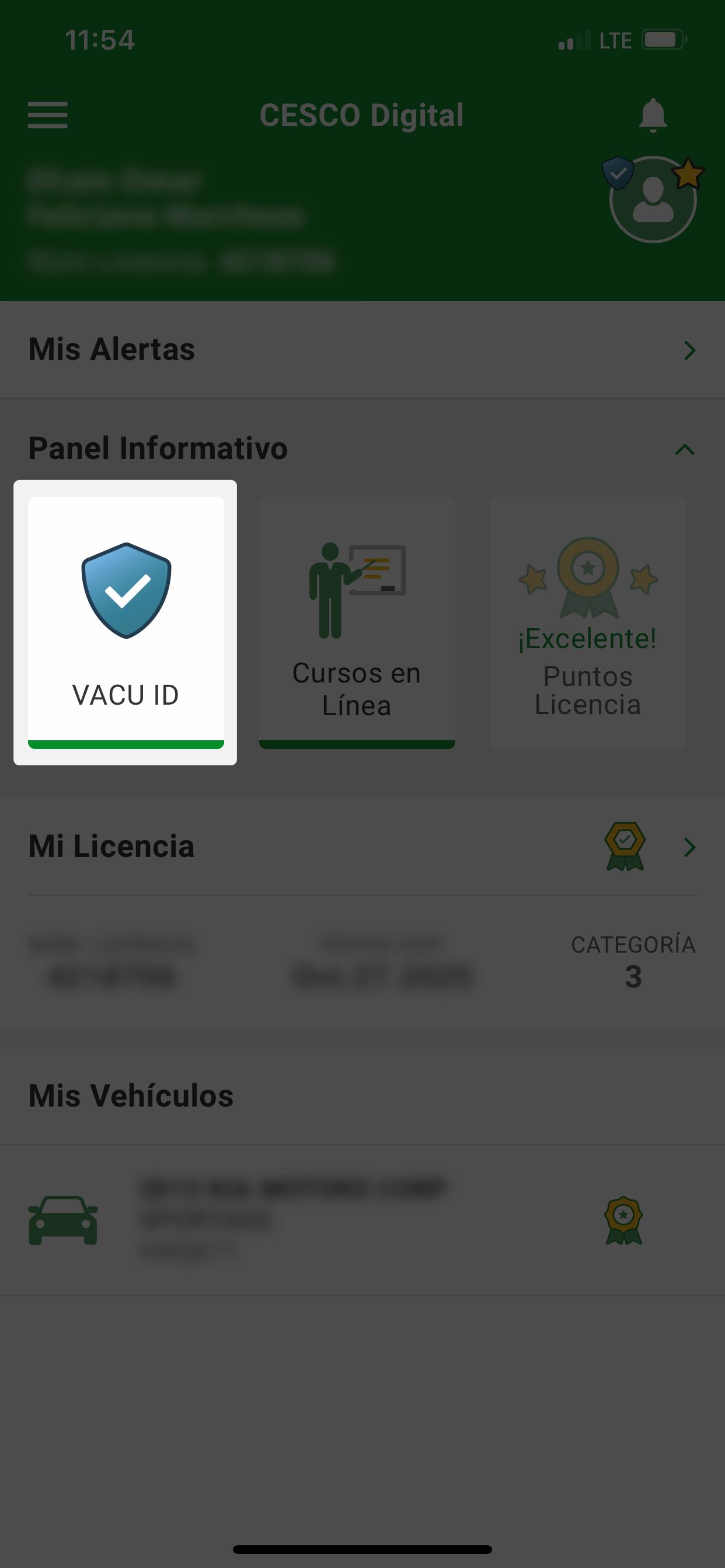 Captura de pantalla principal mostrando dónde ver el Vacu ID