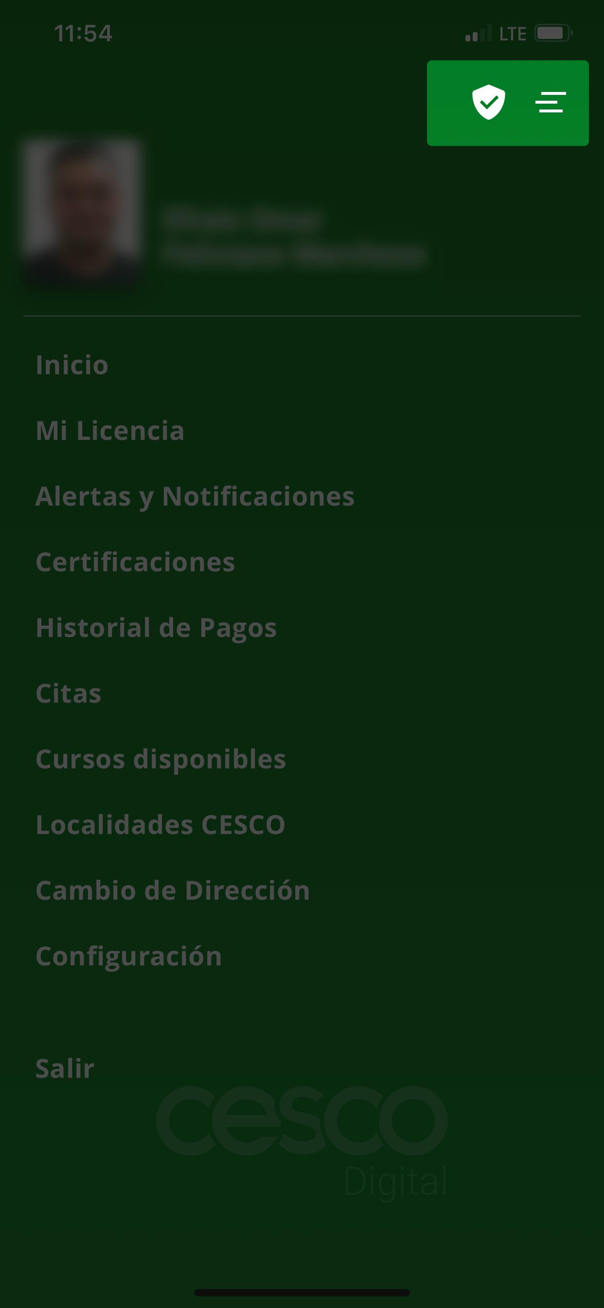 Captura de pantalla de menú mostrando dónde ver el Vacu ID