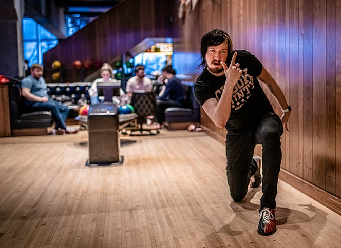 Our videographer showing his bowling skills