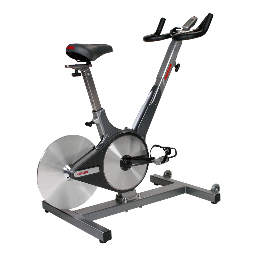 We use the Keiser spin bike, these are my favourite brand of stationary bikes as they have a quick shift lever that enables you to ramp up your resistance instantly as well as a friction based drive system that can't be bullied. The other thing I like about them is that the seat and handlebar positions are numbered so that once you work out your perfect setup you can make a note of it, and replicate it every time with zero fuss.